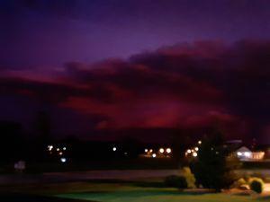 Lightning lighting up sky