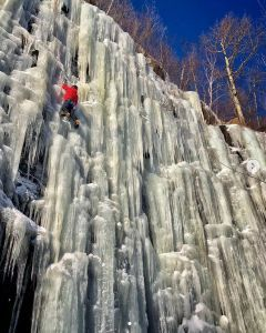 Brett Aquila ice climbing
