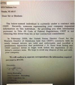 CRST Broken Contract Letter