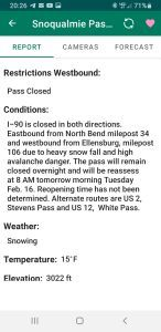 WSDOT Road Report Snoqualmie Pass