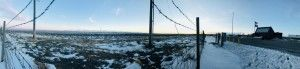 A snowy panorama in rural Wyoming.
