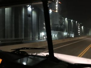 predawn b4 and after pics of festival setup, passing G3 Grain Silos in North Van