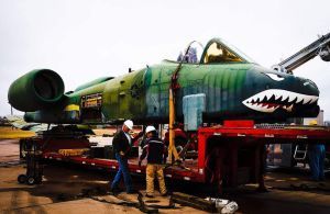 A-10 getting loaded for a move to Weatherford, OK