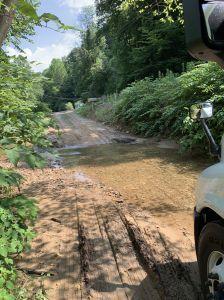 Through small creek/branch