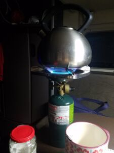 Boiling water with a propane burner.