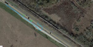 Blue line is my path, Green arrows are the other person direction of travel